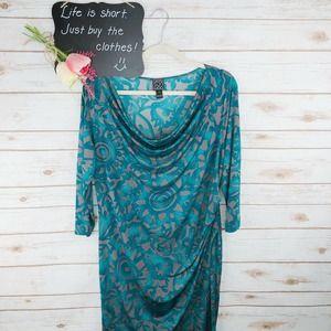Clara Sun Woo Dress Size L Floral Drape Faux Wrap